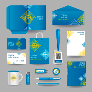 Blue ornamental business stationery template for corporate identity and branding set vector illustraのイラスト素材 [FYI03070743]