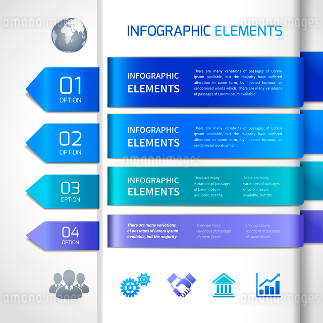 Abstract business infographics design elements and icons for banners titles options and labels vectoのイラスト素材 [FYI03070747]