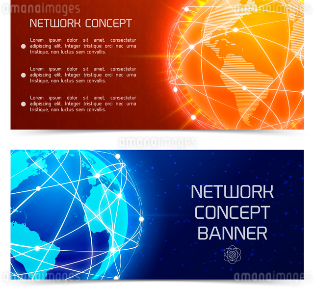 Network globe orange and blue sphere earth map banners set isolated vector illustrationのイラスト素材 [FYI03070760]