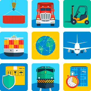 Logistic shipping delivery service realistic icons set isolated vector illustrationのイラスト素材 [FYI03070761]
