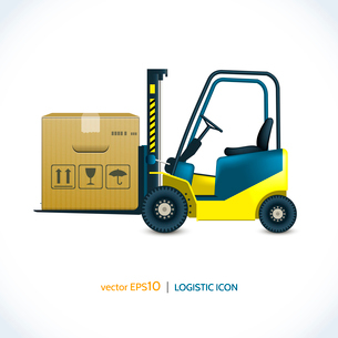 Logistic shipping realistic forklift loader with cardboard box  isolated on white vector illustratioのイラスト素材 [FYI03070763]