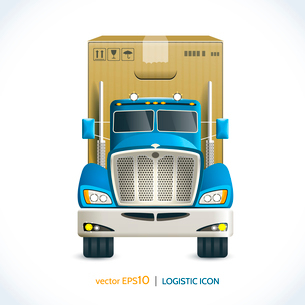 Logistic shipping realistic heavy truck with carton box  isolated on white vector illustrationのイラスト素材 [FYI03070765]