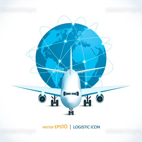 Logistic shipping realistic airplane global network isolated on white vector illustrationのイラスト素材 [FYI03070766]