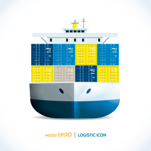 Logistic shipping realistic ocean container ship transport isolated on white vector illustrationのイラスト素材 [FYI03070769]