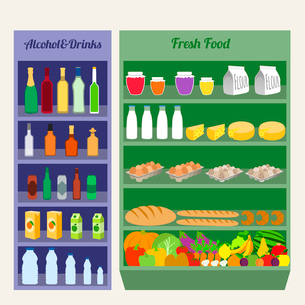 Supermarket shelves fresh food alcohol and drinks flat vector illustrationのイラスト素材 [FYI03070771]