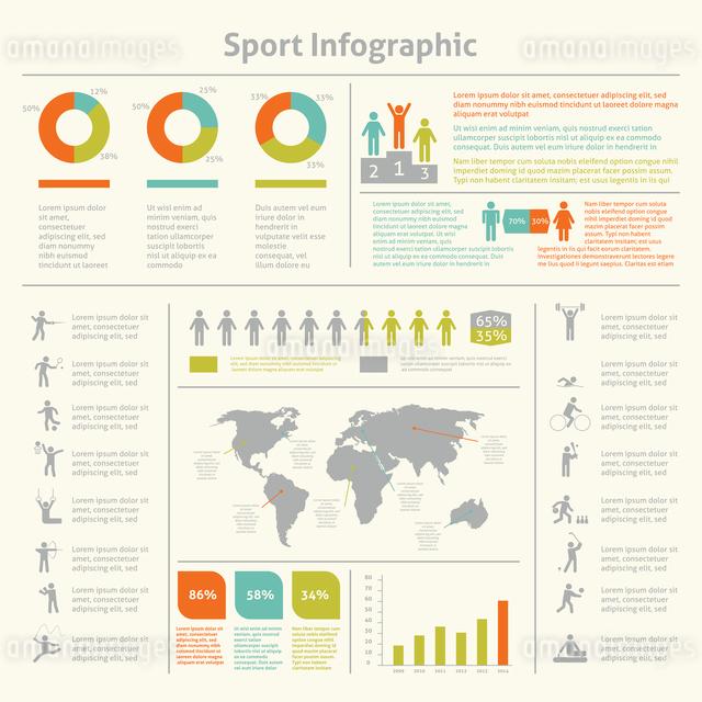 Infografic athletics sport achievements development and competitions winners statistics presentationのイラスト素材 [FYI03070772]