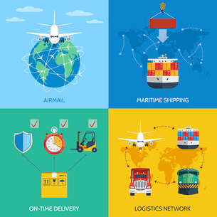 Logistic network airmail maritime shipping on-time delivery flat icons set isolated vector illustratのイラスト素材 [FYI03070791]