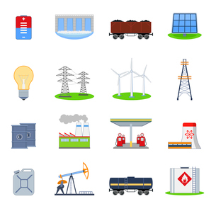 Energy and electricity icons set with battery hydroelectric plant coal wagon isolated vector illustrのイラスト素材 [FYI03070793]