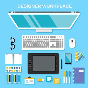 Graphic designer studio tools workplace top view vector illustrationのイラスト素材 [FYI03070794]