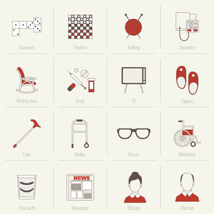 Pensioners life flat line icons set of dominoes checkers knitting isolated vector illustrationのイラスト素材 [FYI03070798]