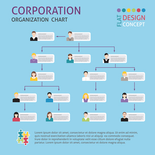 Corporate structure organisation chart infographics set vector illustrationのイラスト素材 [FYI03070800]