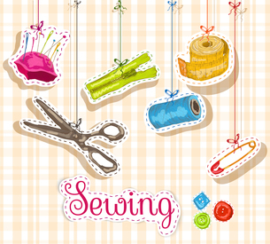 Sewing dressmaking and needlework accessories sketch composition vector illustrationのイラスト素材 [FYI03070801]
