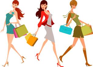 shopping girlsのイラスト素材 [FYI03071185]