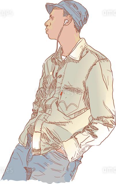 Man  listening to music on headphones. Vector illustration.のイラスト素材 [FYI03071263]