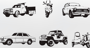 Silhouette cars. Vector illustration of old vintage custom collector's cars and motorcycleのイラスト素材 [FYI03071271]