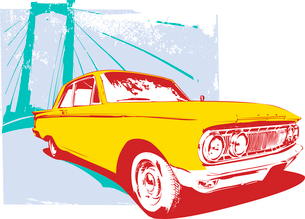 Vector Illustration of old vintage custom collector's car on grunge  urban backgroundのイラスト素材 [FYI03071274]