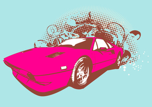 Vector Illustration of old vintage custom collector's car on grunge background .のイラスト素材 [FYI03071281]