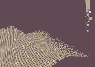 Vector illustration of organic wave surface made of brown squaresのイラスト素材 [FYI03071338]