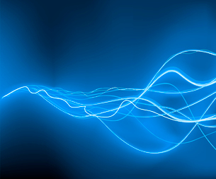 A vector illustrated   futuristic background resembling blue motion blurred neon light curvesのイラスト素材 [FYI03071347]