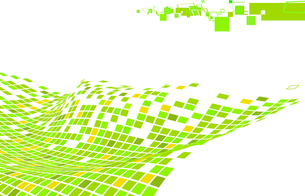 Vector illustration of organic wave surface made of green squaresのイラスト素材 [FYI03071352]