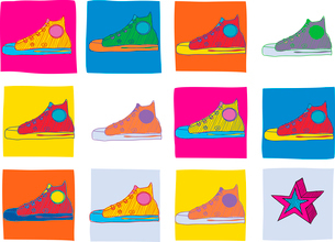 Pattern made of cool hand-drawn sport shoes in different colors. Vector illustrationのイラスト素材 [FYI03071356]