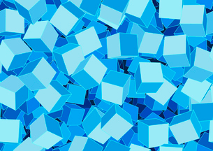 Vector illustration of style blue seamless background made of many funky cubesのイラスト素材 [FYI03071371]