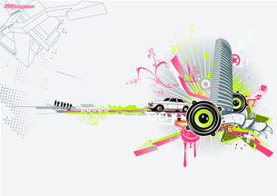 Vector illustration of style urban backgroundのイラスト素材 [FYI03071373]