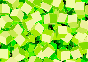 Vector illustration of style green seamless background made of many funky cubesのイラスト素材 [FYI03071374]