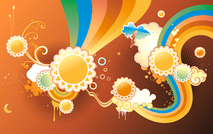 Vector illustration of funky styled design background made of sun shapes, rainbow shapes and floralのイラスト素材 [FYI03071375]