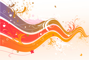 Vector illustration of style floral colored backgroundのイラスト素材 [FYI03071446]
