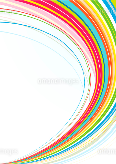 Vector illustration of abstract background made of Colorful Rainbow curved linesのイラスト素材 [FYI03071515]