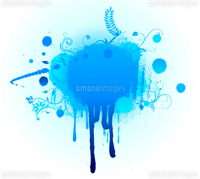 Vector illustration of Grunge Floral Background with big blue blotのイラスト素材 [FYI03071521]