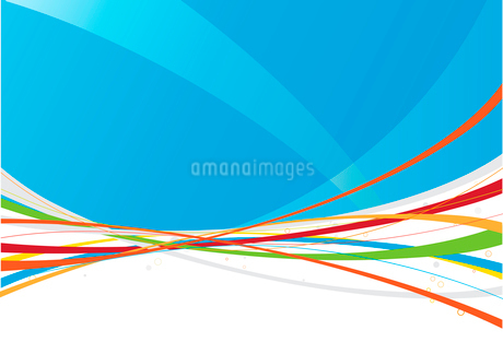 Vector illustration of blue abstract background made of colorful curved linesのイラスト素材 [FYI03071524]
