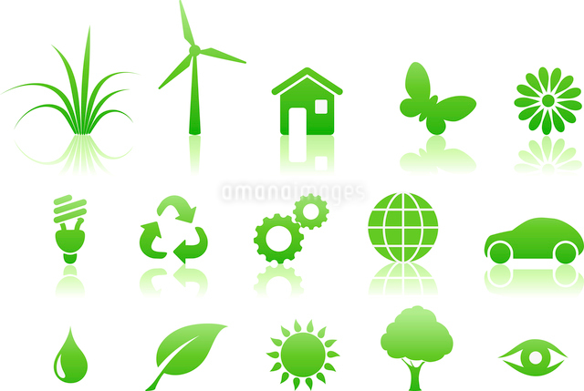 Vector illustration of green ecology icon setのイラスト素材 [FYI03071539]