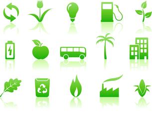 Vector illustration of green ecology icon setのイラスト素材 [FYI03071540]
