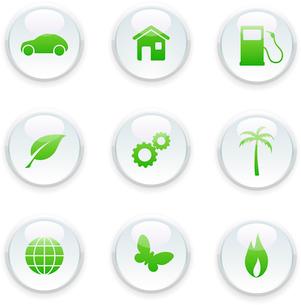 Vector illustration of green ecology icon setのイラスト素材 [FYI03071544]