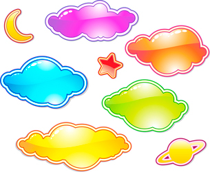 Vector illustration Set of color clouds. You can use this objects for chat box, labels, badges and dのイラスト素材 [FYI03071558]