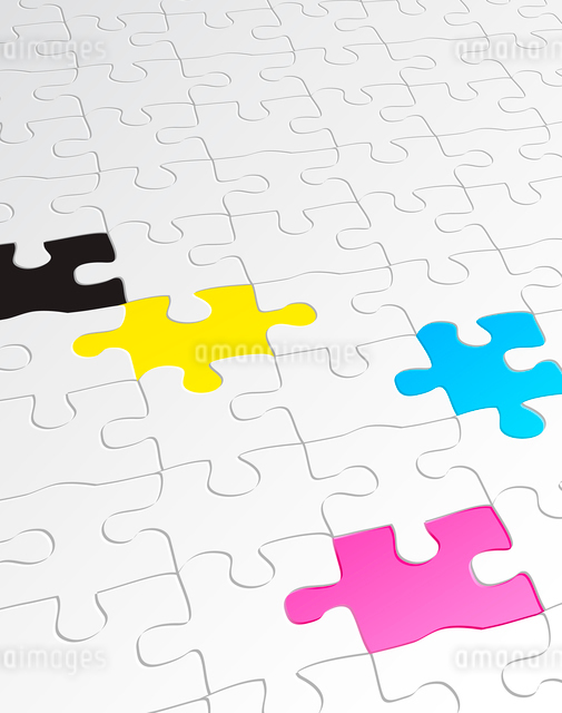 Vector illustration of abstract background made of jigsaw puzzle templates with 4 pieces in differenのイラスト素材 [FYI03071569]
