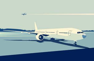 Vector illustration of a detailed airplane on the urban airport scene.  Retro style.のイラスト素材 [FYI03071572]