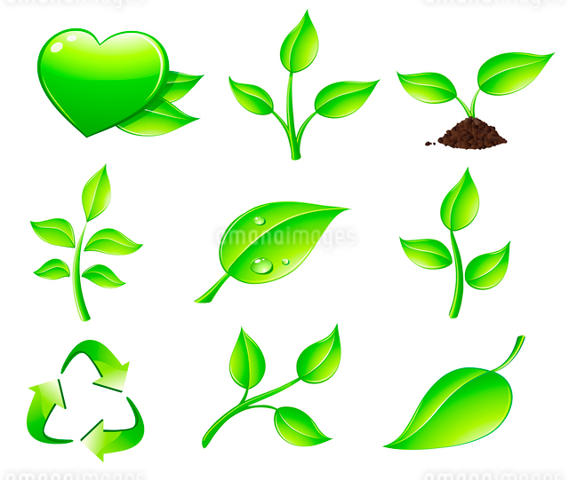 Vector illustration of green ecology nature floral icon setのイラスト素材 [FYI03071573]