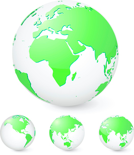 Vector illustration set of green globes showing our planet revolving in different stagesのイラスト素材 [FYI03071576]