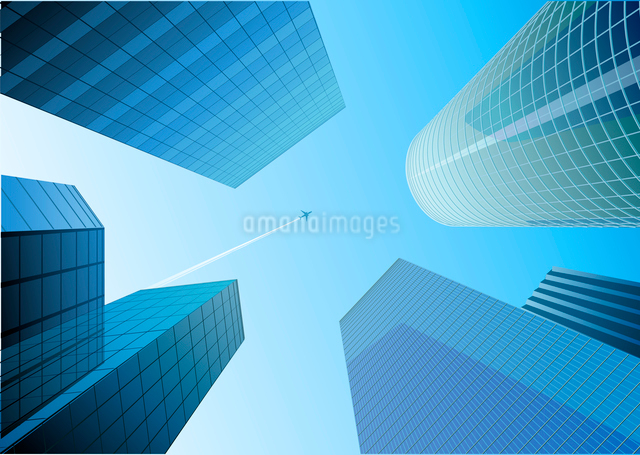 Vector illustration of Looking up at skyscrapers in the blue city and airplane in the skyのイラスト素材 [FYI03071578]