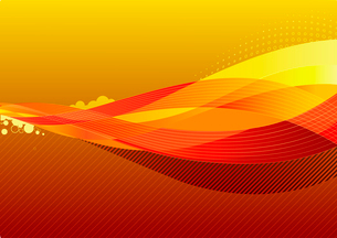 Vector illustration - abstract background made of orange splashes and curved linesのイラスト素材 [FYI03071580]