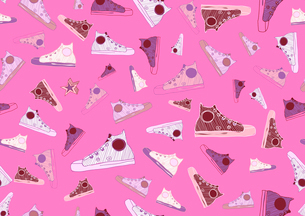 Retro Seamless Pattern made of cool hand-drawn sport shoes on bright pink background. Vector illustrのイラスト素材 [FYI03071631]