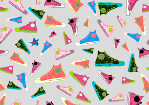 Retro Seamless Pattern made of cool hand-drawn sport shoes in different colors. Vector illustrationのイラスト素材 [FYI03071635]