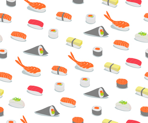 Vector background illustration of various types of sushi in iconic style. Retro Seamless Pattern.のイラスト素材 [FYI03071639]