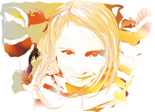 A portrait of a young beautiful girl made in autumn colors. Vector illustration.のイラスト素材 [FYI03071653]