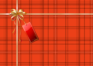 Vector illustration of Scottish plaid gift wrapping with golden ribbon, bow and red empty tagのイラスト素材 [FYI03071661]