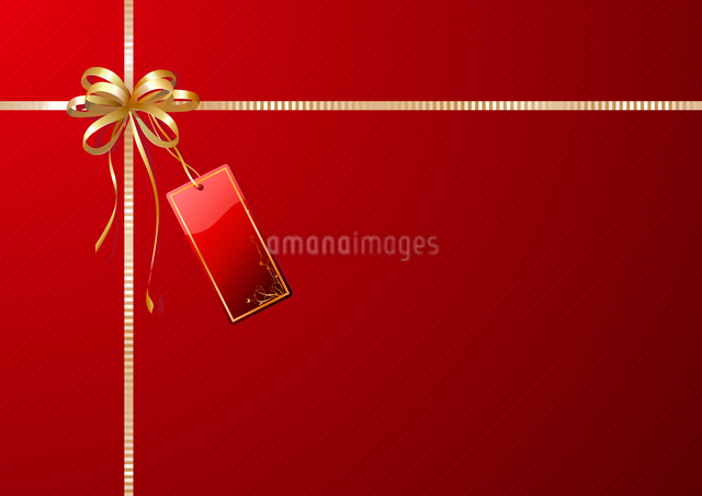 Vector illustration of shiny gift wrapping with golden ribbon, bow and red empty tagのイラスト素材 [FYI03071665]