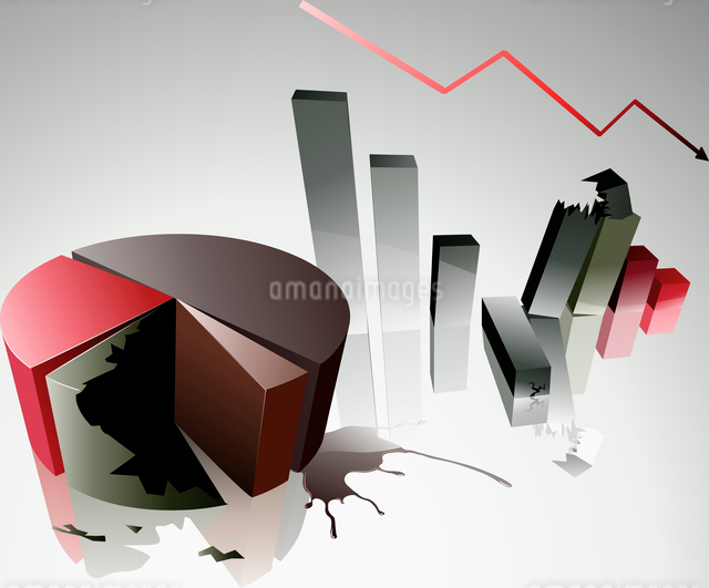 Vector illustration Concept of a financial crisis with bar and pie chartのイラスト素材 [FYI03071686]